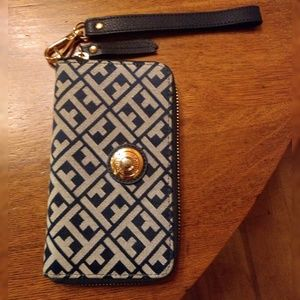 Tommy Hilfiger Navy and Gold Geometric Wallet